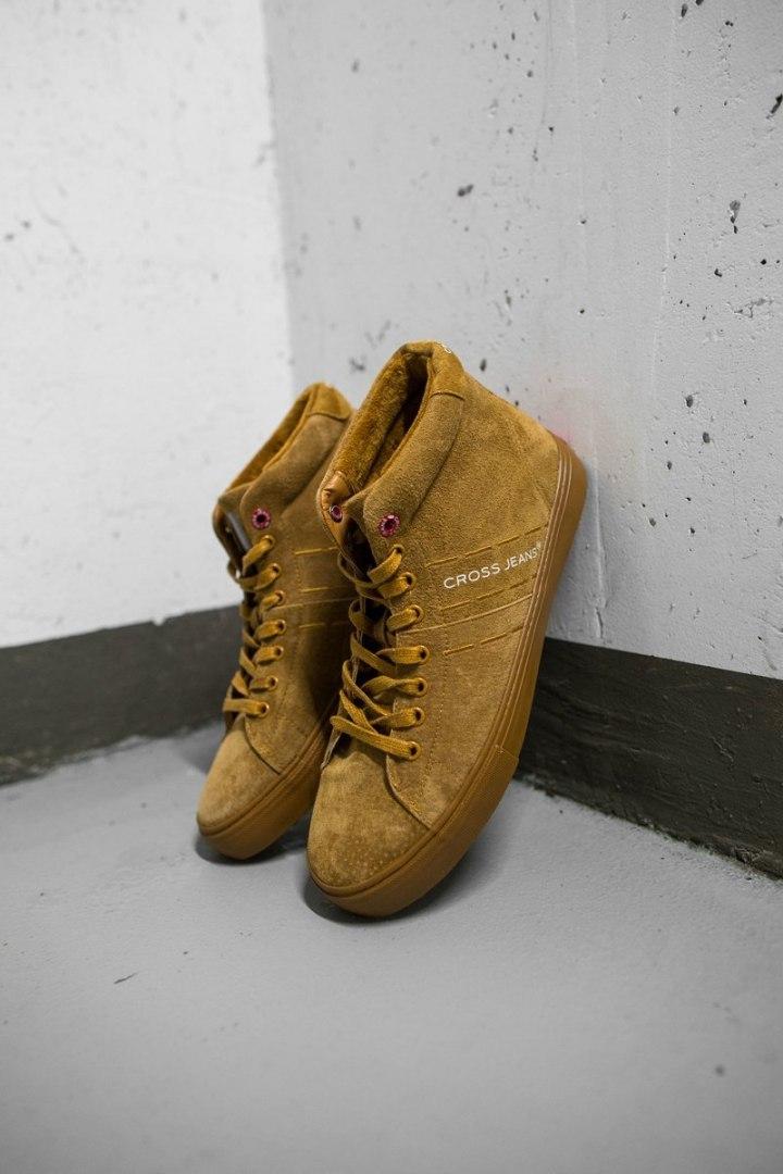Trampki Męskie Cross Jeans Wysokie Skóra Zamsz Camel EE1R4054C